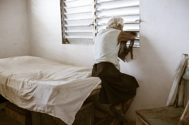 Old woman - interior - rural