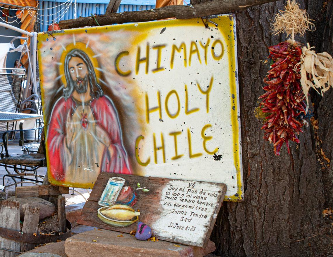 Chimayo Holy Chili Sign - New Mexico - New Mexico Photography Workshop - New Mexico Photo Workshop - New Mexico Photo Tour - Catholic Church - Santuario de Chimayo - Religious Icons