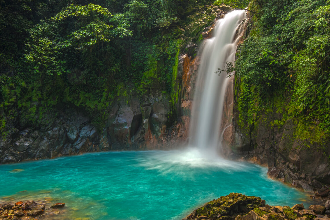Rio Celeste Waterfall photographed in Costa Rica Photography Workshop