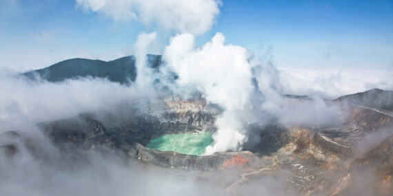View of an active volcano in Costa Rica, Volcan Poas